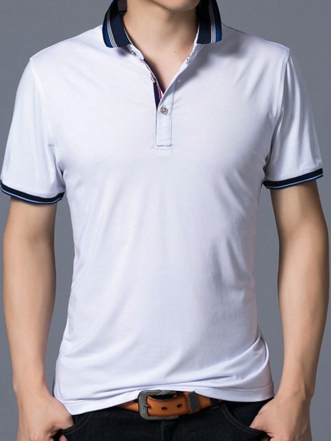 Fashionmia Men Striped Polo Collar Short Sleeve T-Shirt