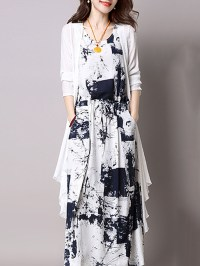 Casual Drawstring Printed Two-Piece Maxi Dress ...
