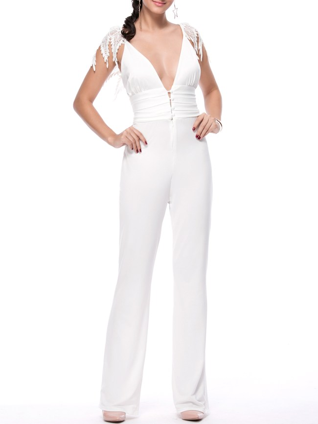 Fashionmia Designed Deep V-Neck Decorative Lace Solid Straight Jumpsuit