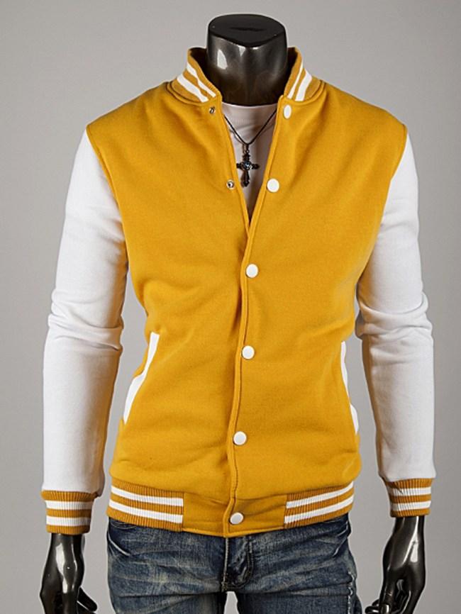 Fashionmia Band Collar Men Single Breasted Pocket Striped Jacket