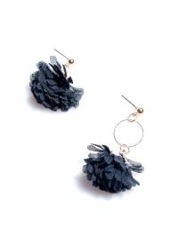 Black Daisy Mesh Earrings - fashionMia.com