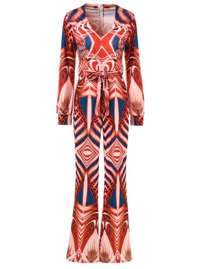 Fashionmia Deep V-Neck Belt Multi-Color Printed Wide-Leg Jumpsuit