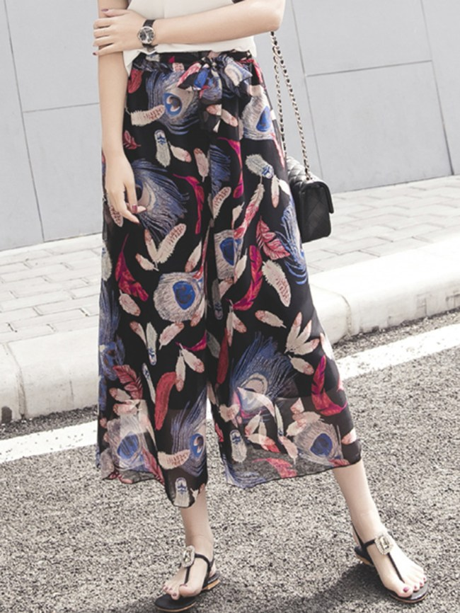 Fashionmia Feather Printed Bowknot Wide-Leg Casual Pants