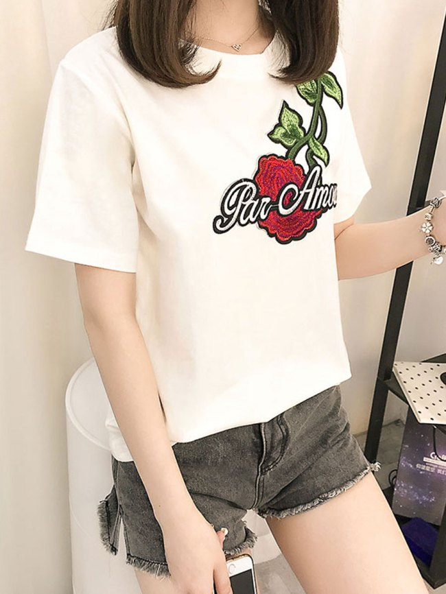 Fashionmia Spring Summer Polyester Women Round Neck Embroidery Short Sleeve T-Shirts