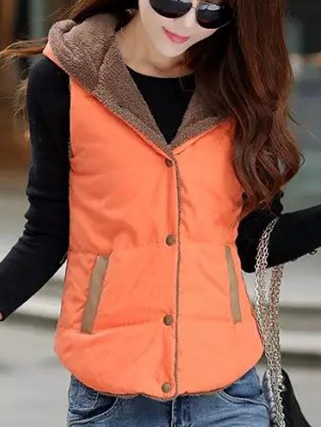 Fashionmia Hooded Fleece Lined Pocket Waistcoat