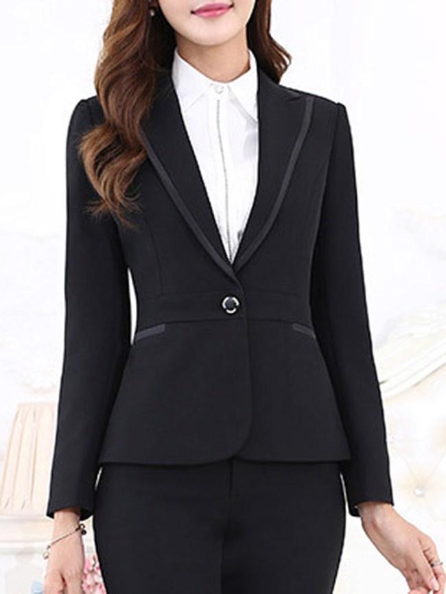 Fashionmia Office Notch Lapel Single Button Plain Long Sleeve Blazer