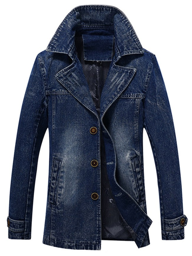 Fashionmia Men Lapel Pocket Light Wash Denim Coat