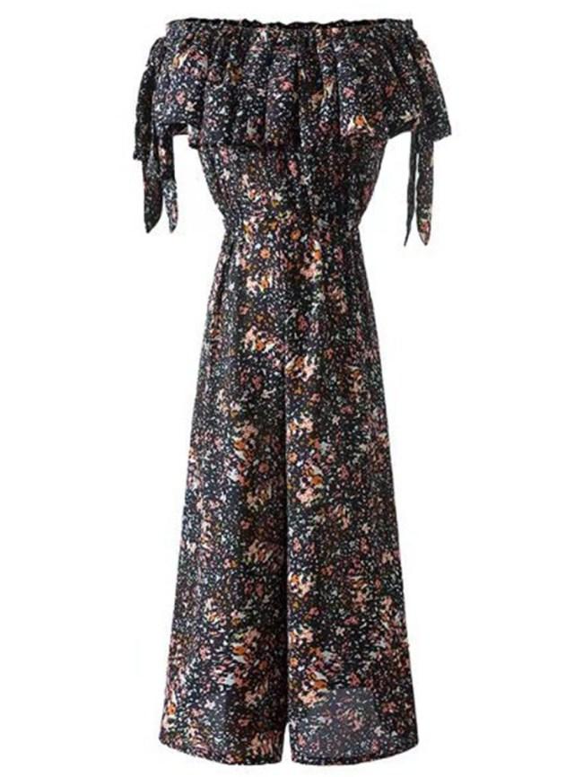 Fashionmia Off Shoulder Elastic Waist Flounce Printed Wide-Leg Jumpsuit