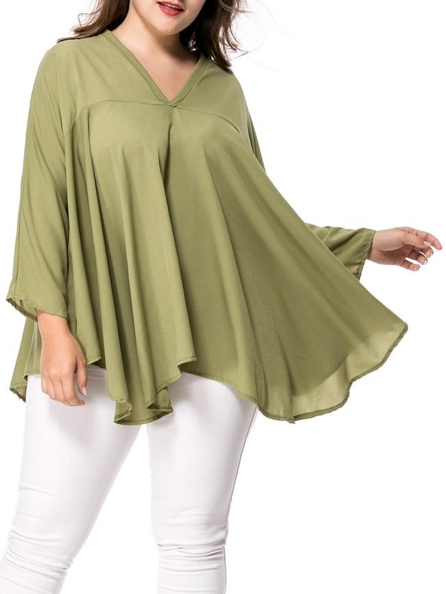 Fashionmia Oversized V-Neck Asymmetric Hem Plain Plus Size Blouse
