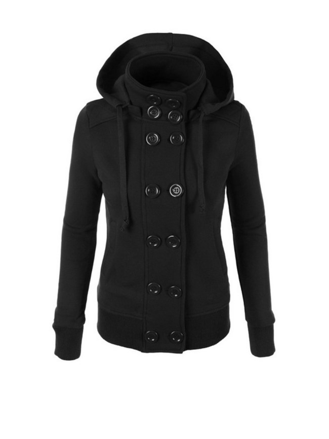 Fashionmia Double Breasted Pockets Plain Hoodie