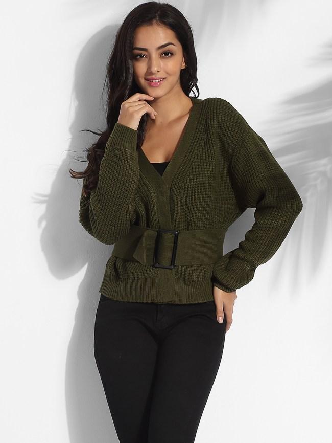 Fashionmia Single Breasted V Neck Dacron Plain Cardigan