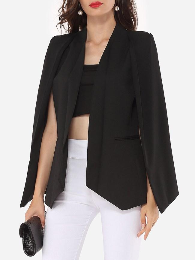 Fashionmia Narrow Notch Lapel Plain Cape Sleeve Blazers