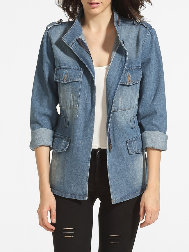 Fashionmia Flap Pockets Zips Band Collar Denim Jackets