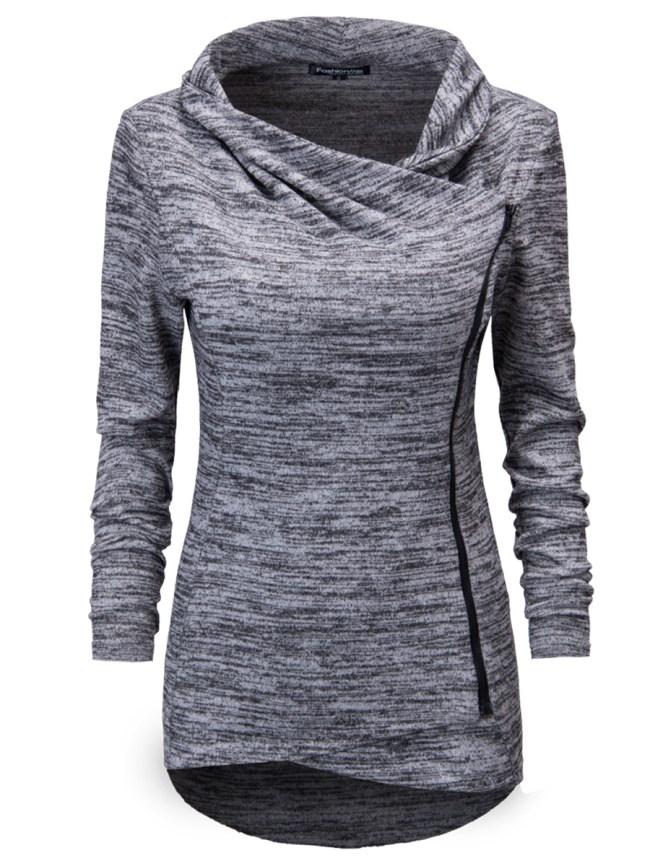 Fashionmia Cowl Neck Zips Asymmetric Hem Cardigan