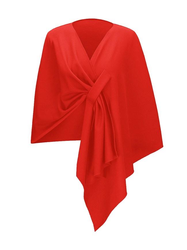 Fashionmia Designed V-Neck Asymmetric Hem Plain Cape