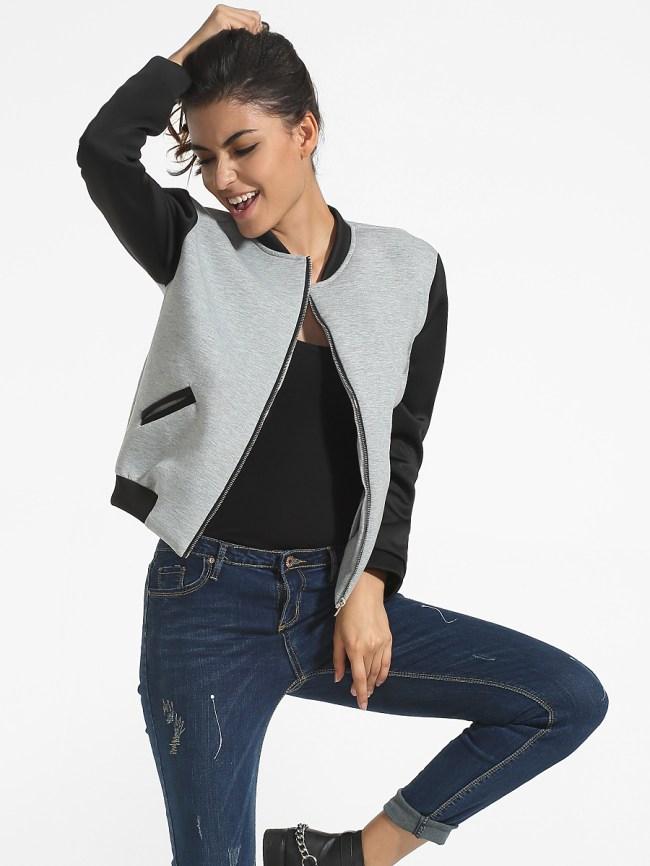 Fashionmia Pockets Band Collar Color Block Bomber Jacket