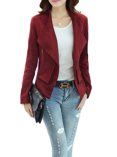 Fashionmia Pockets Stylish Lapel Biker Jackets