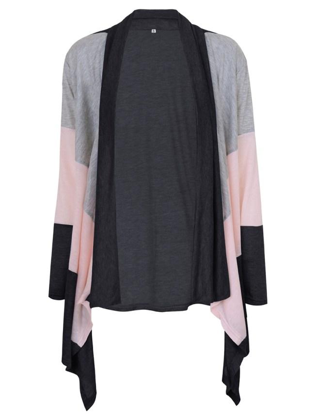 Fashionmia Lapel Asymmetric Hem Color Block Cardigan