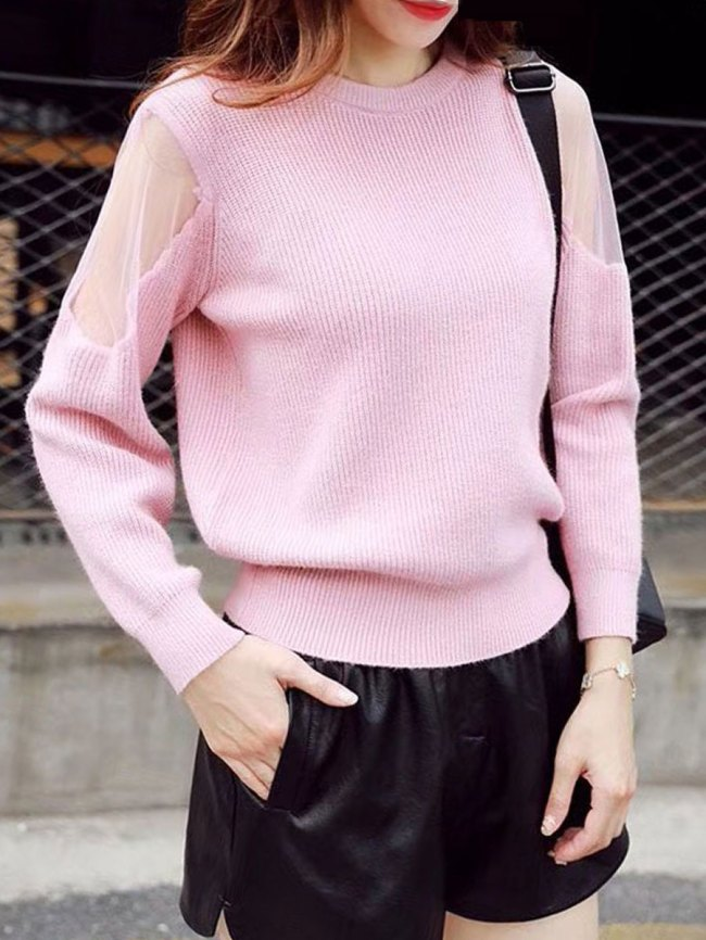 Fashionmia Round Neck Patchwork See-Through Plain Long Sleeve Pullover