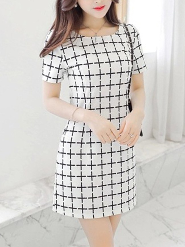 Fashionmia Round Neck Plaid Mini Bodycon Dress