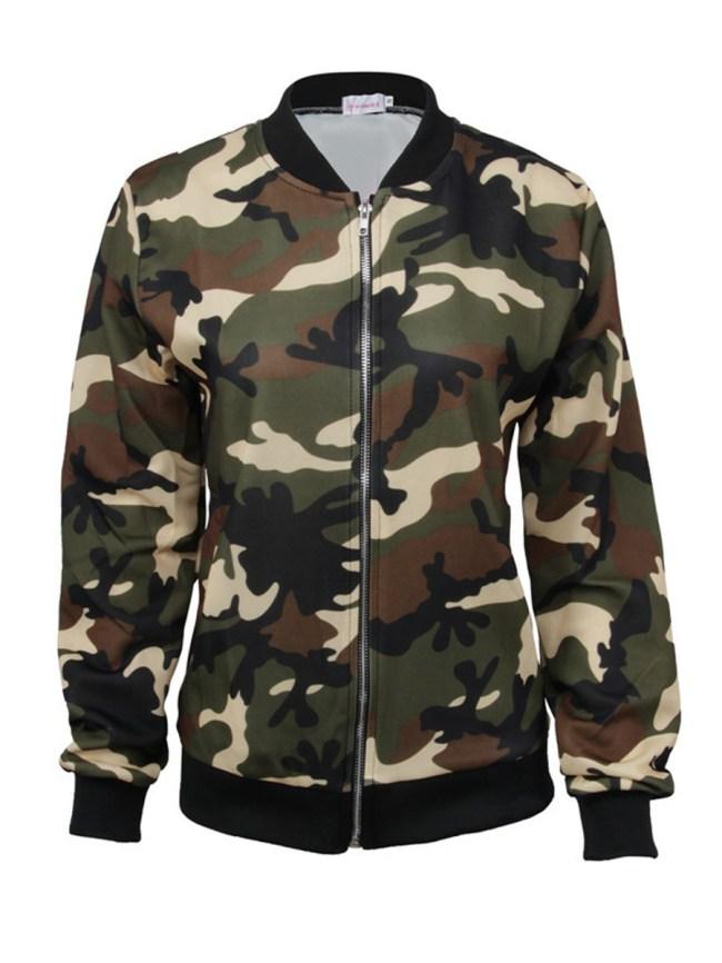Fashionmia Collarless Zips Camouflage Short Sleeve Jackets