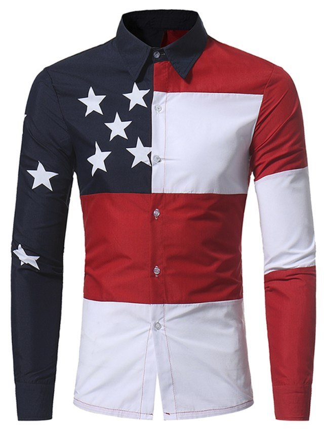 Fashionmia Color Block Star Men Shirts