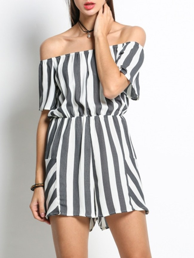 Fashionmia Off Shoulder Elastic Waist Striped Modern Bootcut Romper