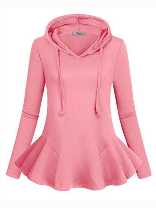 Fashionmia Autumn Spring Cotton Blend Flounce Plain Long Sleeve Hoodies