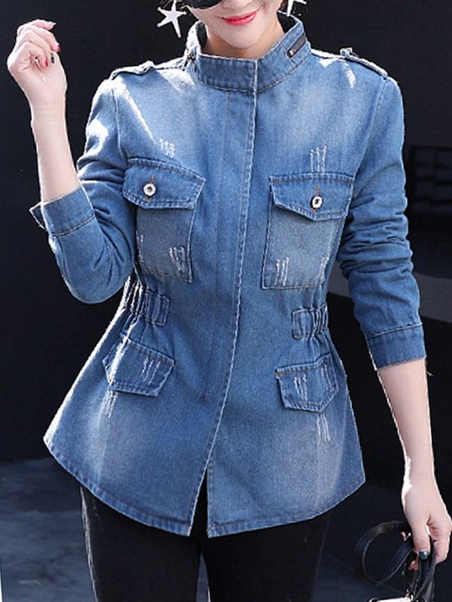 Fashionmia Band Collar Flap Pocket Zips Plain Long Sleeve Jackets