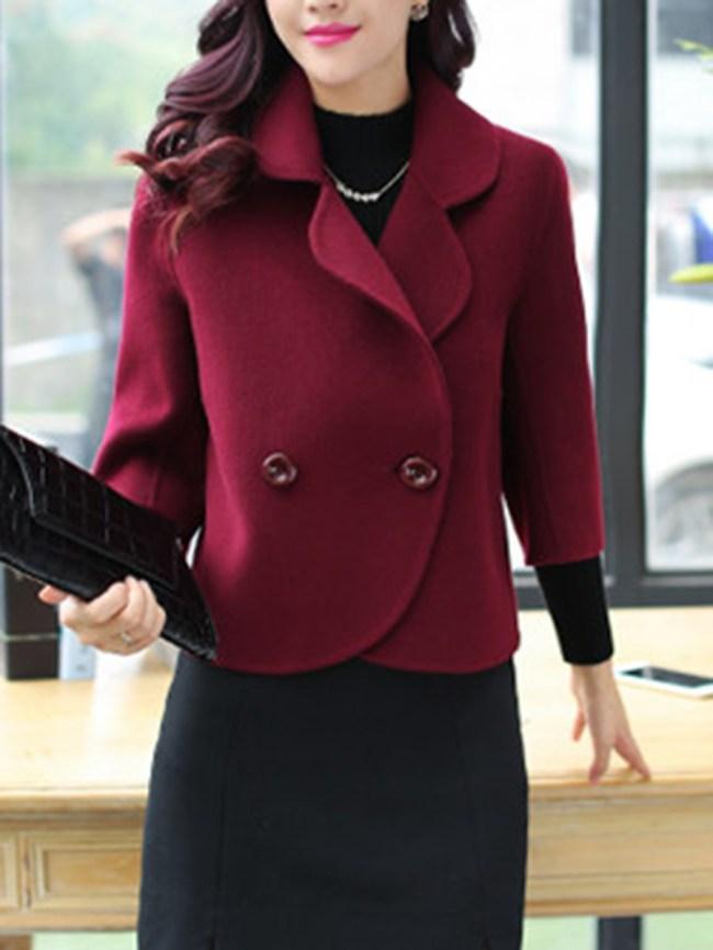 Fashionmia Loose Lapel Plain Woolen Blazer