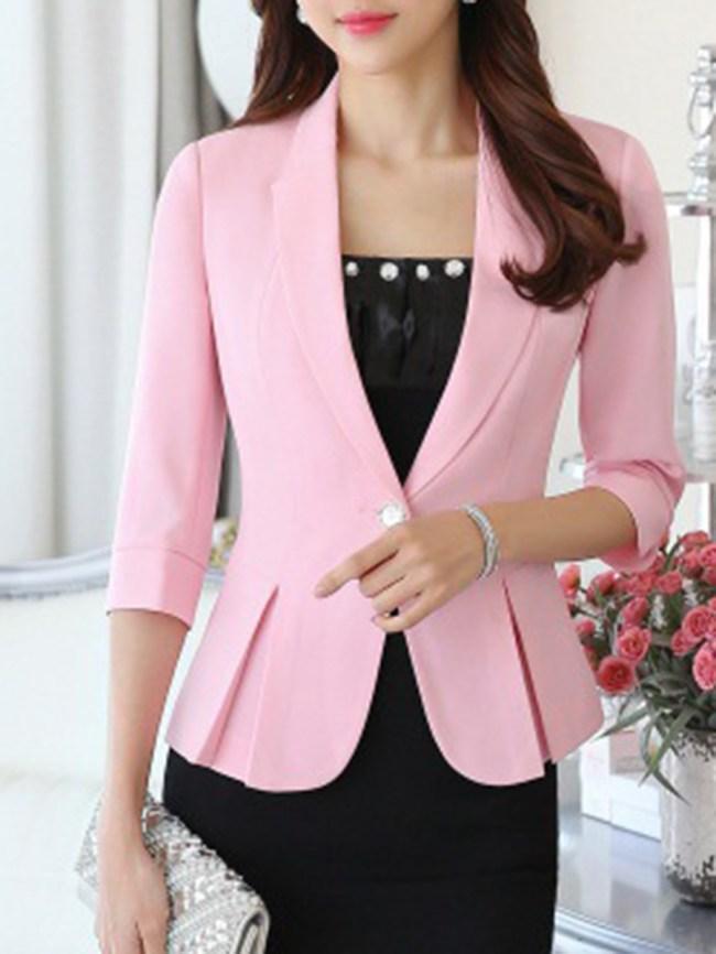Fashionmia Fold-Over Collar Flounce Single Button Plain Three-Quarter Sleeve Blazers
