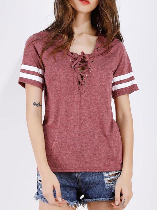 Fashionmia Summer Polyester Women V-Neck Drawstring Plain Short Sleeve T-Shirts