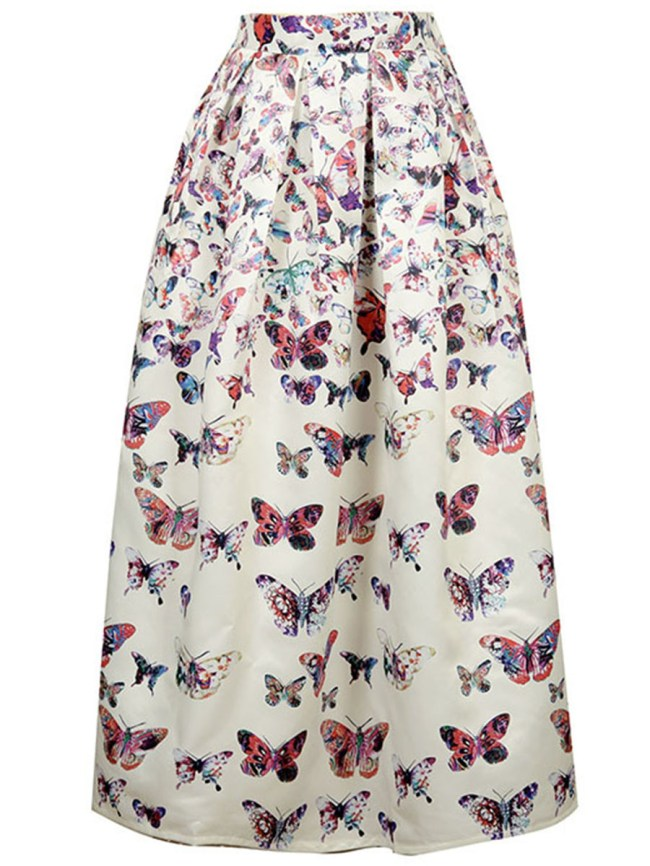 Fashionmia Fantastic Butterfly Printed Flared Maxi Skirt