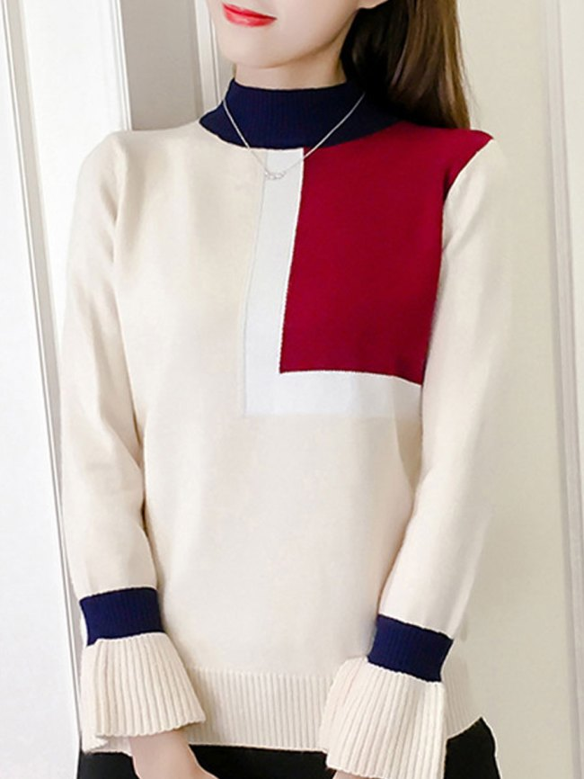 Fashionmia High Neck Patchwork Geometric Long Sleeve Pullover