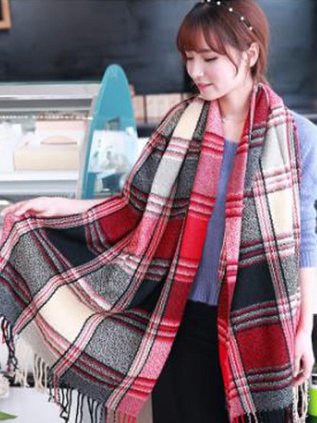 Fashionmia Lady Fashion Woolen Tassel Decoration Plald Scarves