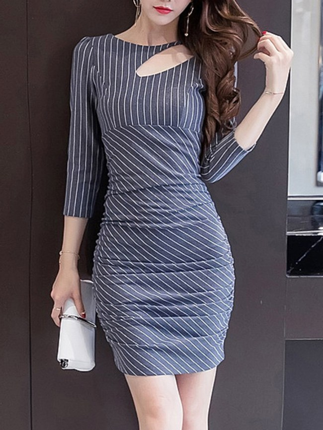 Fashionmia Striped Cutout Round Neck Ruched Bodycon Dress