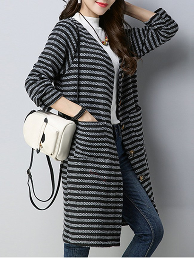 Fashionmia Collarless Single Breasted Striped Long Sleeve Trench Coats