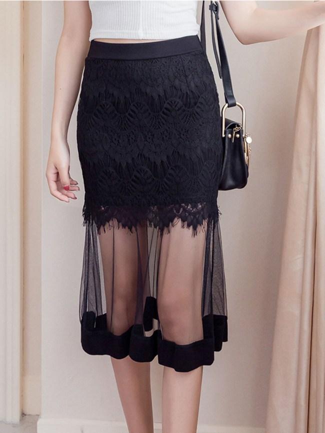 Fashionmia See-Through Plain Midi Skirt