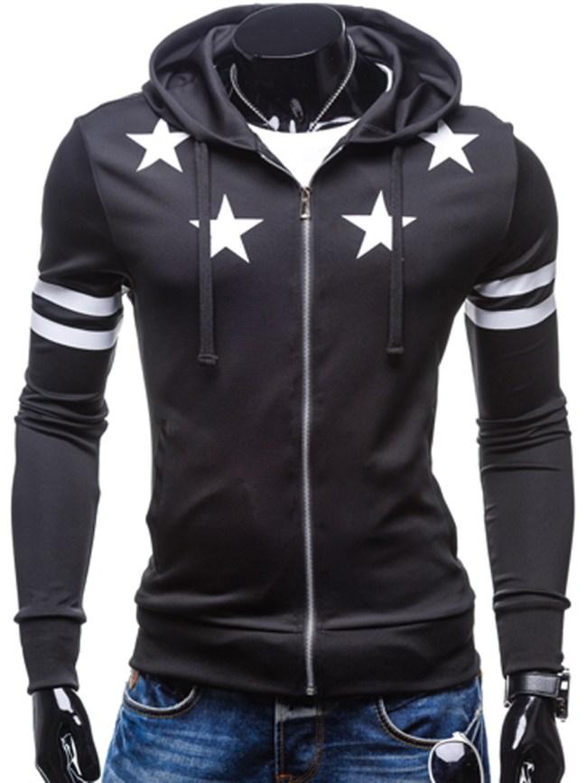 Fashionmia Hooded Star Striped Pocket Men Coat