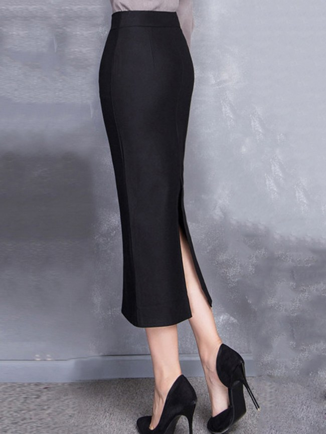 Fashionmia Slit Plain Pencil Maxi Skirts
