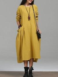 Oversized Round Neck Draped Pocket Plain Maxi Dress ...