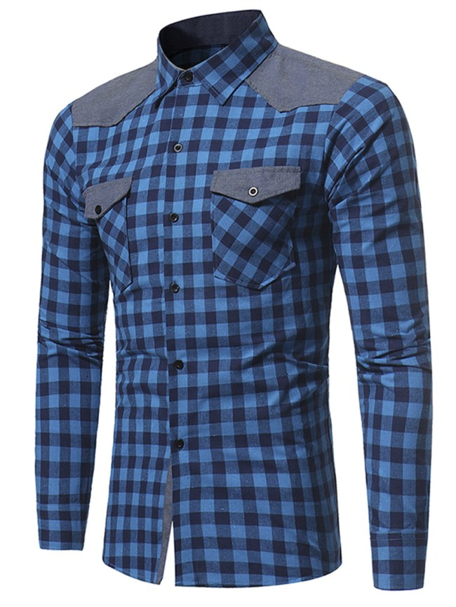 Fashionmia Flap Pocket Color Block Plaid Men Shirts