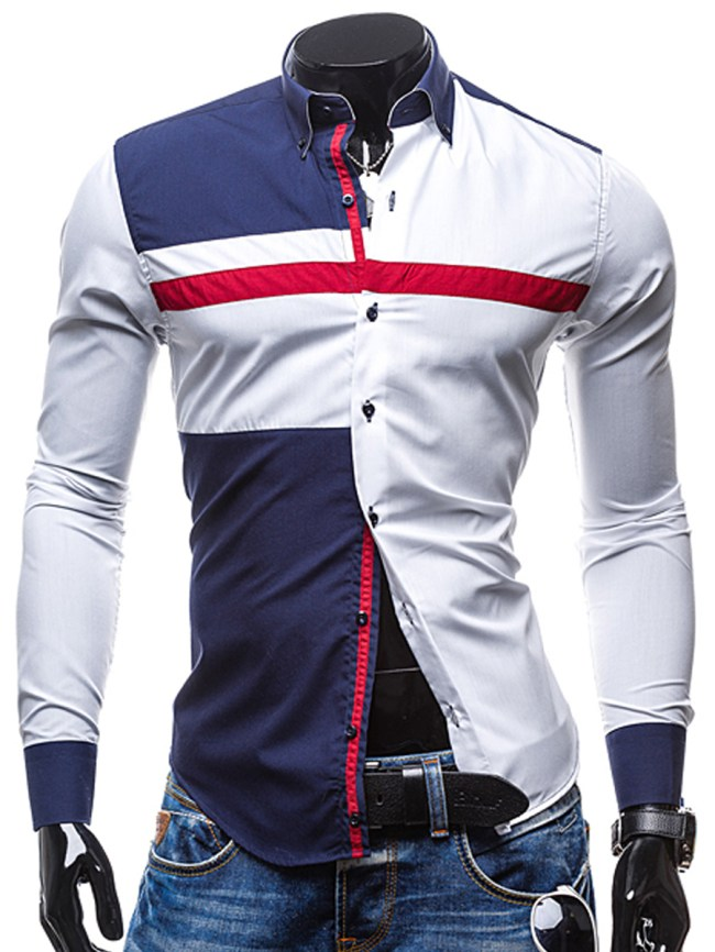 Fashionmia Modern Color Block Men Turn Down Collar Shirts