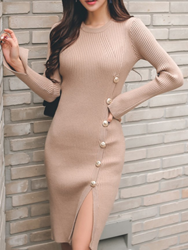 Fashionmia Crew Neck Plain Blend Bodycon Dress