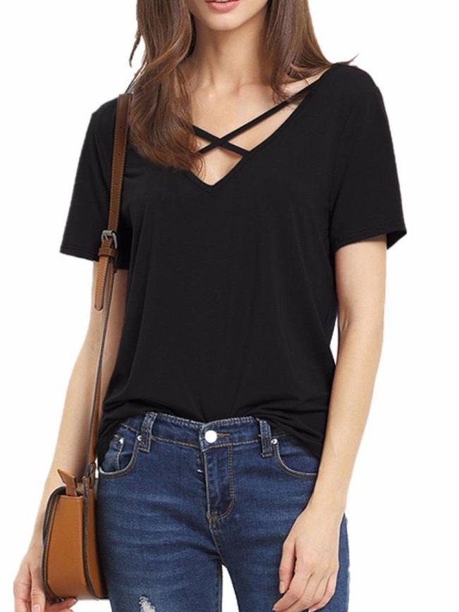 Fashionmia Summer Polyester Women Surplice Plain Short Sleeve T-Shirts