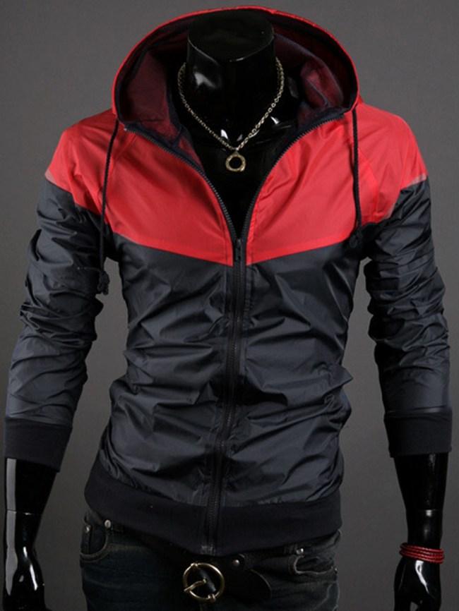 Fashionmia Hooded Pocket Color Block Men Jacket