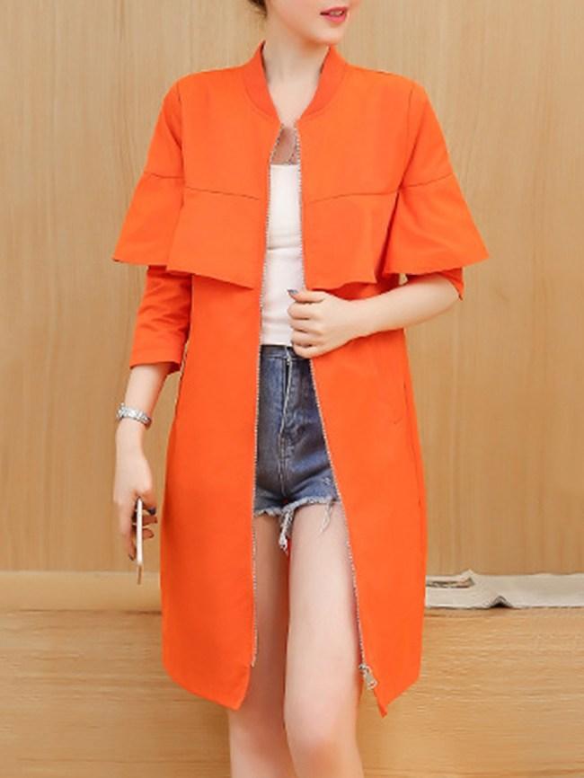 Fashionmia Band Collar Flounce Zips Plain Long Sleeve Trench Coats