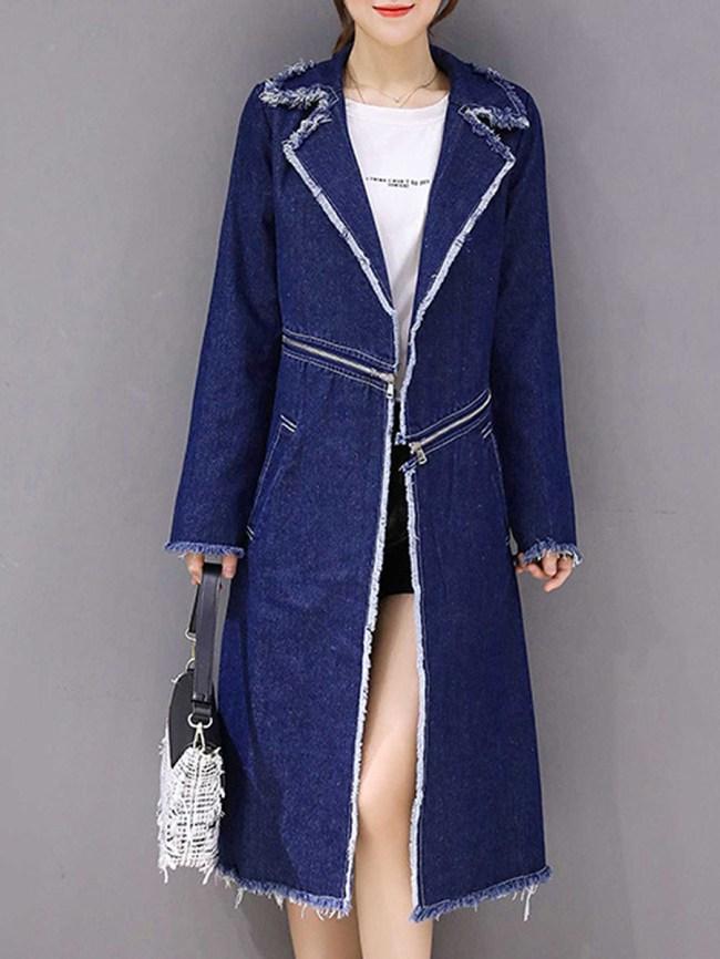 Fashionmia Fold-Over Collar Zips Multi-Way Plain Long Sleeve Coats