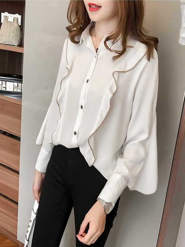 Fashionmia Autumn Spring Cotton Women Turn Down Collar Flounce Contrast Stitching Plain Long Sleeve Blouses