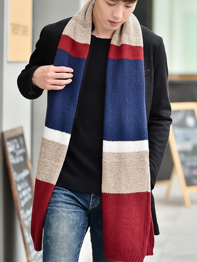 Fashionmia Winter Fashion Woolen Color Block Thick Scarves
